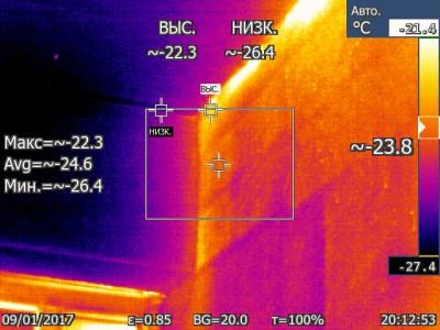 Со стороны балкона на стену. Тепловые контуры пеноблоков видны даже через слой штукатурки и наверное утеплителя. - Со стороны балкона на стену. Тепловые контуры пеноблоков видны даже через слой штукатурки и наверное утиплителя.  IR000282.jpg